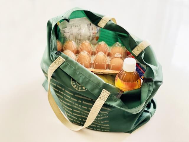 お買い物袋にたっぷり入った食材