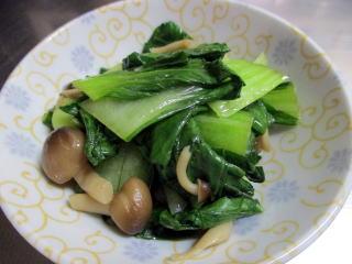 お弁当に入れる青梗菜のお浸し