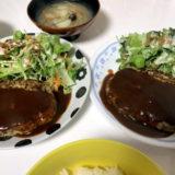 今日の夜ご飯【簡単デミグラスソースのハンバーグと具だくさん味噌汁】