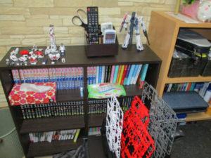 本棚とカラーボックスは夫の本とゲームソフトだらけ